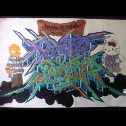 #facebook #tumblr #twitter #graffiti #art #blackbook #markers #couples #randy #zayla #prismacolor #sharpie #follow #chapstick #hellokitty  (Taken with Instagram)
