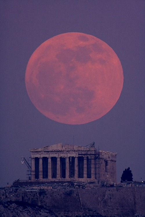 Parthenon Moon by Anthony Ayiomamitis