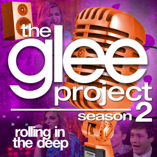 "A Glee Project album cover (with Season 3 microphone) for ""Rolling in the Deep"" by Adele, as sung by Aylin Bayramoglu, from Episode 2x11 ""Glee-ality"" in my Velvet Backdrop style."