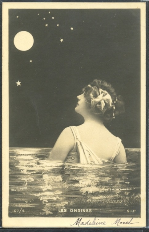 maudelynn:  The Sea Nymph and the Moon 1910s postcard