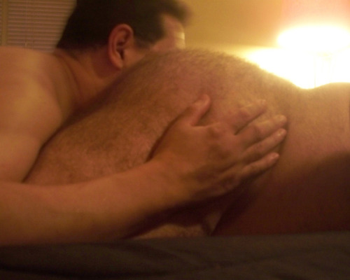 bearassnaked:  A good friend eating my big hairy ass