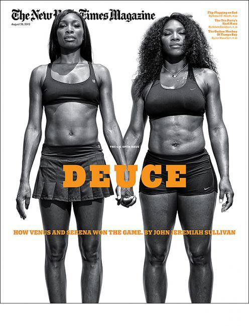 The New York Times MagazineOn the cover: Venus and Serena WilliamsPhotograph: Damon WinterDesign director: Arem Duplessis Source: Coverjunkie