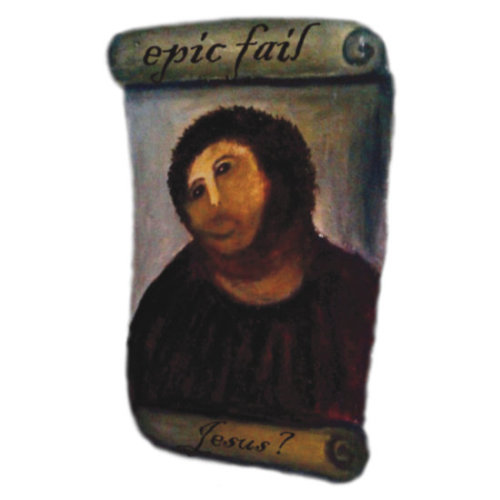 Epic Fail Jesus Fresco t-shirt by Brother Adam This t-shirt was inspired by this recent media story The world's worst art restoration Oh dear! T-Shirt available at www.brotheradam.com.au