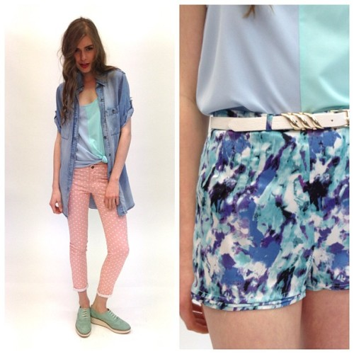 On the set of #1and20blackbirds #fashion #pastels #chambray #summer #spring #shorts #jeans #polka #spots #pink #blue @theiconicau  (Taken with Instagram)