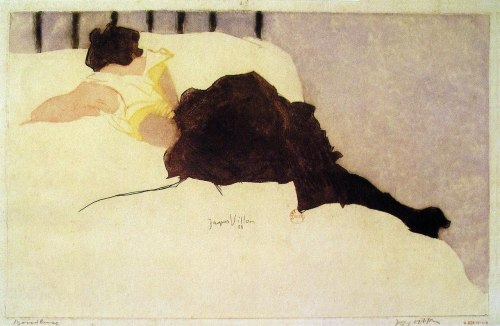 slickwhippet:  Jacques Villon, Across the Bed (1900)   via japonisme