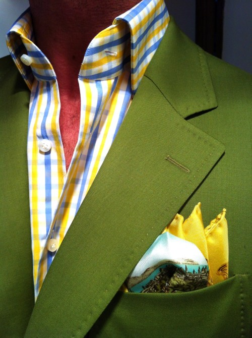 thesnobreport:  WIWT MTM green jacket (Scabal), MTM checked Emanuel Berg shirt both fitted by Lowet Tailors & a Rubinacci square
