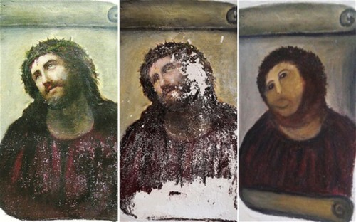 """Elderly woman destroys 19th-century fresco with DIY restoration""  I fear I will never make anything quite as good as that final ""restored"" painting."