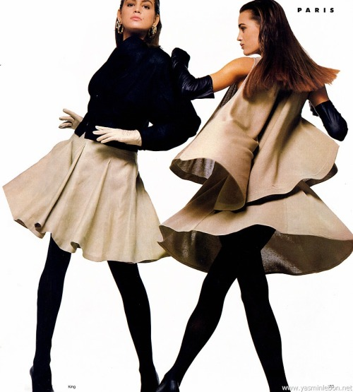"80s-90s-supermodels:  ""Spring '87 International Report : Paris"", Vogue US, January 1987Photographer : Bill KingModels : Cindy Crawford & Yasmin Le Bon"