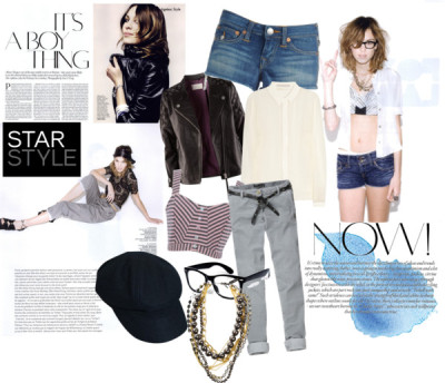 a boy thing by roselinas featuring chino pantsJason Wu lace top / Yumi crop top, $40 / H&M biker jacket, $205 / Short shorts, $140 / Scotch & Soda chino pants, $125 / Mi Lajki chain necklace, $22 / Wayfarer sunglasses / Wool newsboy hat