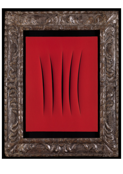 Lucio Fontana  Concetto spaziale, Attese. 1961  Waterpaint on canvas, Red / idropittura su tela, rosso  24 x 18 Inches (61 x 46 cm)  Signed, Title and inscribed on the back / Firma, titolo e scritta sul retro: