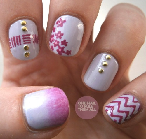 onenailtorulethemall:  Pink Mix 'n' Match based on a number of blogger's designs, read more on my blog to find out who :)