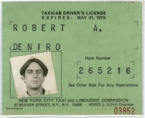 Robert De Niro's official license when shooting Taxi Driver