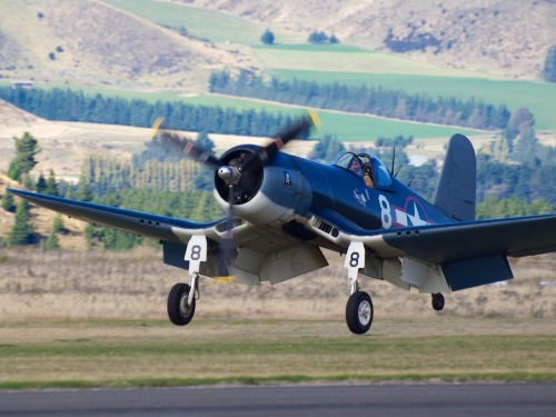 Corsair landing at Warbirds Over Wanaka 2012  Type: Goodyear FG-1D Corsair Registration: NZ5648/ZK-COR Location: Wanaka Airport Date: 08/04/2012