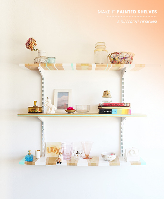 Painted Shelves | Design Love Fest If you're looking for a way to update your bookshelves or shelves, this is a perfect way to make them over - not to mention cheaper than buying new ones! I love the colour combination too - brown, blue, white and gold. If you don't want to makeover something you already have, you can always buy some super cheap ones from IKEA.