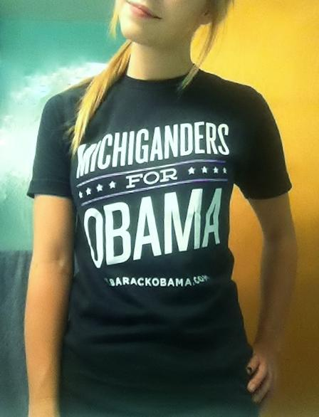 More state shirts in the wild. Kara just sent this in: Obama pride in Michigan!