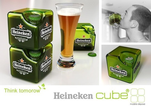 parislemon:  stoweboyd:  Heineken Cube: a cube beer bottle. (via Would You Drink Beer From A Square Bottle? - DesignTAXI.com)  Just like the Power Mac G4 Cube!  I smell an Apple suit with this design.