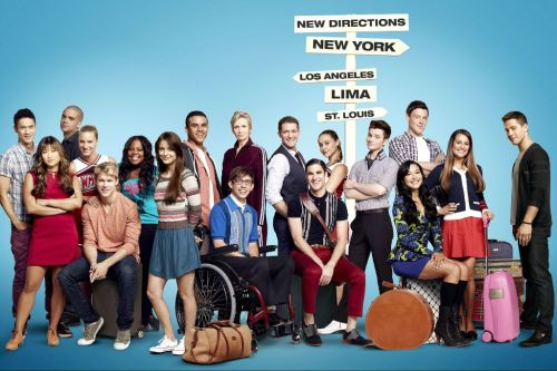 "huffposttv:  ""Glee"" Season 4 cast … but look who's missing."