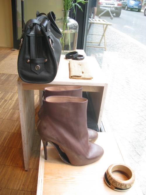 items for shop windows. martin margiela boots. lancel bag.