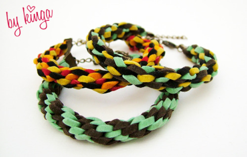Leather kumihimo bracelet
