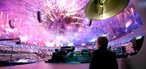 Paul McCartney watching the fireworks at the conclusion of the London Olympics Opening Ceremony, 27 July 2012