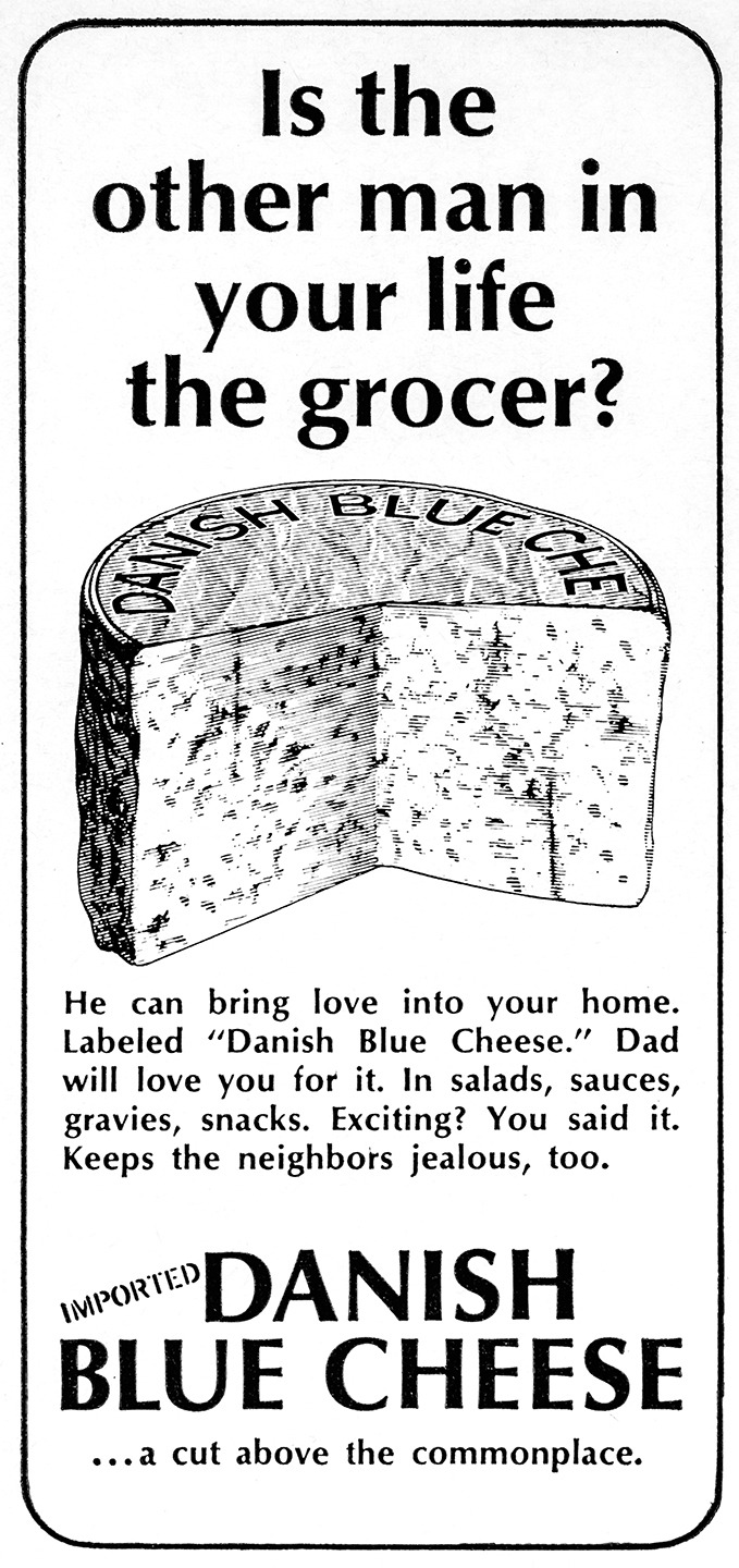 Danish Blue Cheese Advertisement - Gourmet: August 1965