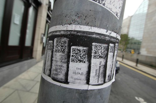 Love this idea. Best marketing use of a QR code I've seen so far! ~eP cathylibrary:  Interesting use of QR codes.  One I might possibly use myself (scan them with my own phone, and also use for my library) via