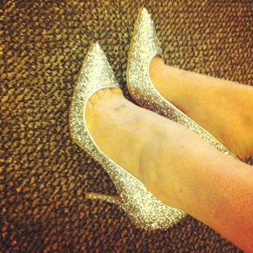 It's a silver #glitter kind of day #miumiu #heels #shoes  (Taken with Instagram)