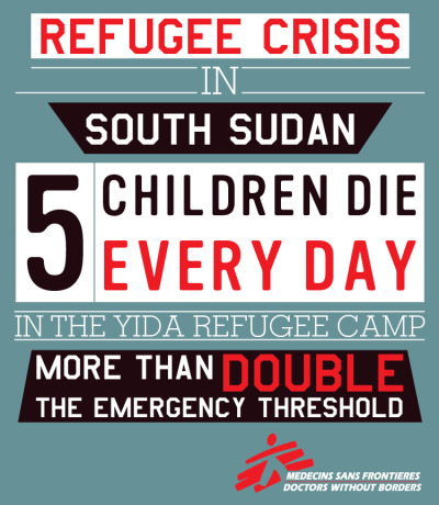 Reblog to help us raise awareness of the plight of Sudanese refugees living in appalling conditions in camps in South Sudan. They are falling ill and dying at rates alarmingly above accepted international standards for emergencies.   Join us next week for a live webcast discussion on the refugee crisis in South Sudan, featuring recently returned emergency field staff. Wednesday, August 29, 8p ET. Register here.