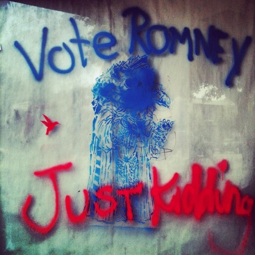 sherry:  The LA Vote. (Taken with Instagram at La Brea / Wilshire Intersection)  Just kidding. (via peterfeld)