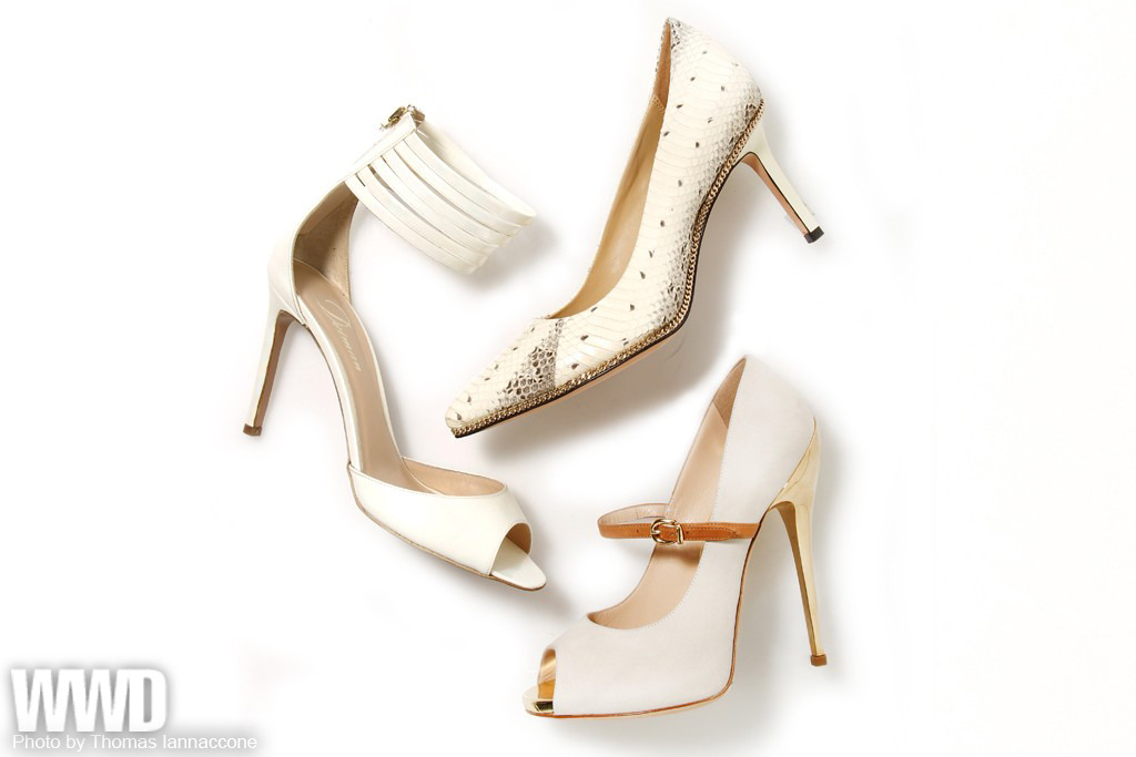 womensweardaily:  Women's Trend: White Out Clockwise from top: RACHEL ZOE's snake-print mid-heel with chain trim; Q BY PASQUALE's peep-toe Mary Jane pump with metallic heel; DELMAN's ankle-strap sandal