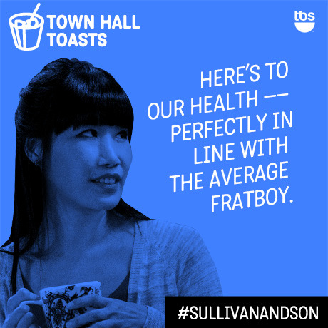 Here's to our health — perfectly in line with the average frat boy.  #SullivanandSon on TBS - New Series Thursdays at 10/9c