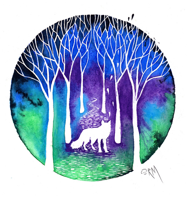 "New from ""Minds Eye"" Series  The Night Fox, Watercolor and Gouache on Arches Hot Press Paper, 9"" x 12"" Should be available as a print soon!  ricardomoody.com"