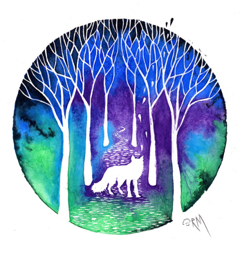 "ricardomoody:  New from ""Minds Eye"" Series  The Night Fox, Watercolor and Gouache on Arches Hot Press Paper, 9"" x 12"" Should be available as a print soon!  ricardomoody.com"