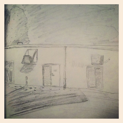 A good lunchbreak spent sketching the back of my office building. (Taken with Instagram)