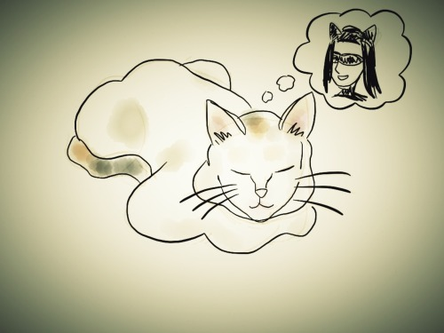 Neko is dreaming of becoming Cat Woman. #doodling at Graha puspa – View on Path.