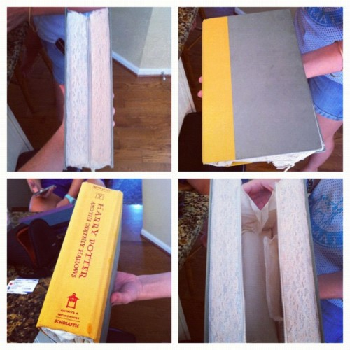books-are-for-nerds:  Rachel! How. Do. You. Do. What. You. Do?!?! #socreative (Taken with Instagram)  Guys I made some Harry Potter book purses for two of my friends this week! I'll post process photos and the other book later but right now I'm supposed to be packing to go back to school~