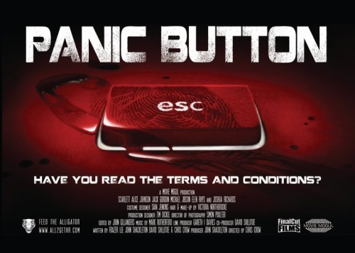"Title: Panic Button Number: Two Hundred and Twenty-Two. Director: Chris Crow. Writer: Frazer Lee Genre: Independent Horror. Released: 2011. Seen on: Sky Movies Anytime. Seen before: Nope. Starring: Scarlett Alice Johnson, Jack Gordon, Michael Jibson, Elen Rhys, Joshua Richards Running Time: 92 minutes. Favorite Performance: Joshua Richards as Alligator. Thoughts: I mostly watched this film on the recommendation of a friend of mine…once we clarified it wasn't ""Panic Room"" she was talking about. Reading the premise, I felt myself becoming interested very quickly, wanting to see how the premise would work. Overall, whilst the premise was in actuality, quite a simple premise, and some of the plot twists weren't all that surprising, the actual execution of the movie makes it better than it would have been. The performances from the four main characters take what could have been stock characters and add nuances to their characters, giving the appearance of a multi-dimension to their characters that may not have existed in the original script. The actors start off as stock characters, and as the layers are peeled back, revealing the secrets of their lives, so do they start to exhibit an extra dimension. The solidness of the four actors give extra enjoyment to the movie. Scarlett Alice Johnson as Jo was a solid main character, but it was really an ensemble, good performances from Jack Gordon as Max, Michael Jibsen as Dave (he definitely impressed me, a supposed sleazy character gradually demonstrated a hidden side) and Elen Rhys as Gwen, who seems to be mostly unknown. The villain comes across as slightly creepy, the use of a computer animated alligator face suggests it is inspired by ""Saw"", which isn't all that surprising. However, tapping more into ""Scream"", it is the vocals that work best, the voiceover creating a seemingly omnipotent horror, possessing the main characters lives in their hands. The real lack of explanation of how everything is achieved may frustrate some, but I felt the ambiguity gave it a true horror feel. It isn't a terrifying film, more of an unnerving concept, the dangers of social networks feeling like a slight ""public danger"" instruction, but it does tap into realistic fears that exist in the present day. Is it a brilliant film? No. Is it a terrible film? No, not really. What it is, is middle-of-the-road, solid, B-Movie, and for that, I enjoyed it Rating: Thumbs Up, 6 out of 10"