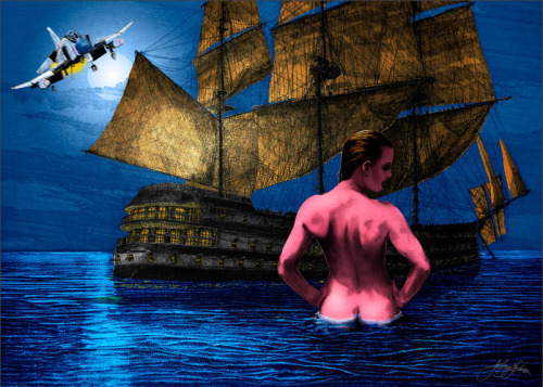 This is an illustration of, we believe, a fighter jet, pirate ship, and naked backside of a woman drawn by this morning's shooter at the Empire State Building. How he describes it:  Wading into Sarasota Bay she was anticipating a relaxing moonlight swim out to the Pirate ship. Hurtling into the periphery of her vision in a blur of fiery motion, a Phantom screamed overhead into the nightscape. It was so low she had seen the reflection of it's burners on the ocean's surface. She'd been startled and forgot to dive in…they'll have lot's to talk about tomorrow!  Weird. Update 1:29pm ET: We went down this rabbit hole after this tweet by the New York Times sent us to one of his alleged websites. From there, we ran a domain search and saw other domains he owned. The above image came from one of those websites.