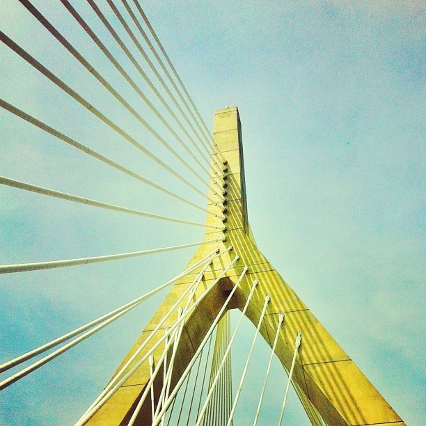 The Zakim Bridge. #igersboston #iphonetwothree #iphone #snapseed #instagram #photography #zakim #zakimbridge (Taken with Instagram at Leonard P. Zakim Bunker Hill Memorial Bridge)