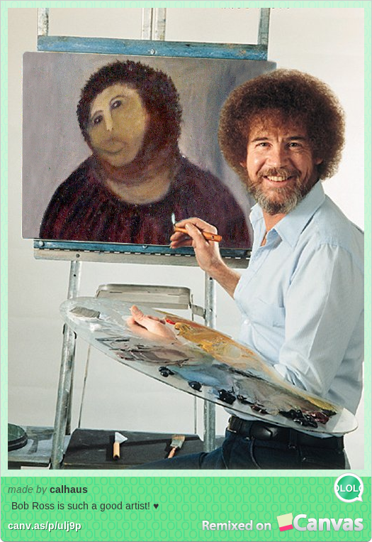 Botched Jesus Painting Restoration is Really a Bob Ross Self-Portrait