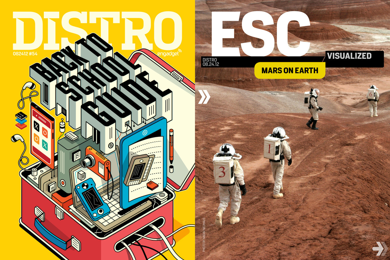 Two stellar pages from Engadget Distro Issue 54 / Cover Illustration by Harry Campbell / Visualized photo by Nadav Neuhaus