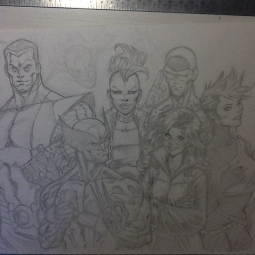 X-Men 1984. Couch sketching last night. #colossus #wolverine #storm #cyclops #kittypryde #rogue (Taken with Instagram)