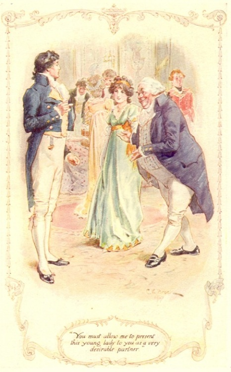 diaryofalandlockedmermaid:  Pride and Prejudice illustration by C.E. Brock.