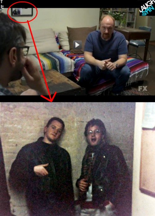laughspin:  Did anyone else notice this on Louie? The picture of Marc's wall is of a young Marc Maron and Louis Louie CK.
