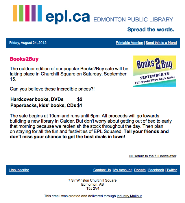 EPL Book Sale Sept 15th, Edmonton It's happening again, get your book toting bags ready.