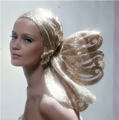the60sbazaar:  Celia Hammond models a gold head scarf