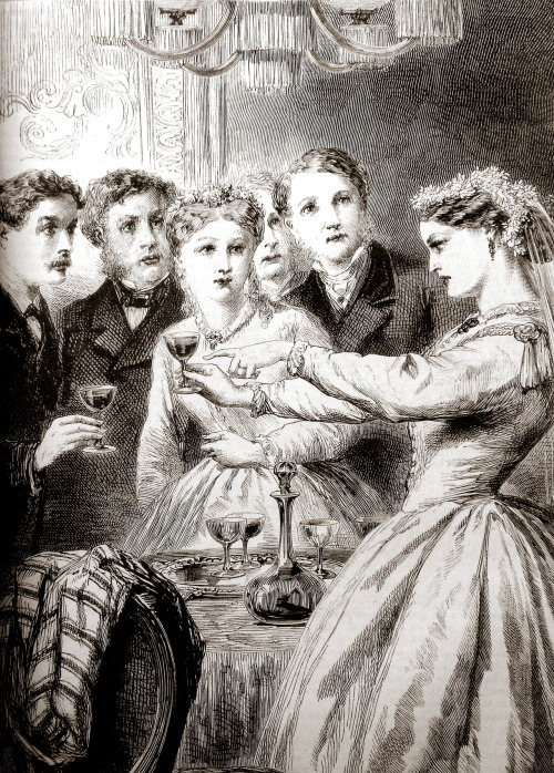 """The Bridal Wine-Cup"" (Family Friend, 1874)—a toast or a game of wits? via treselegant"