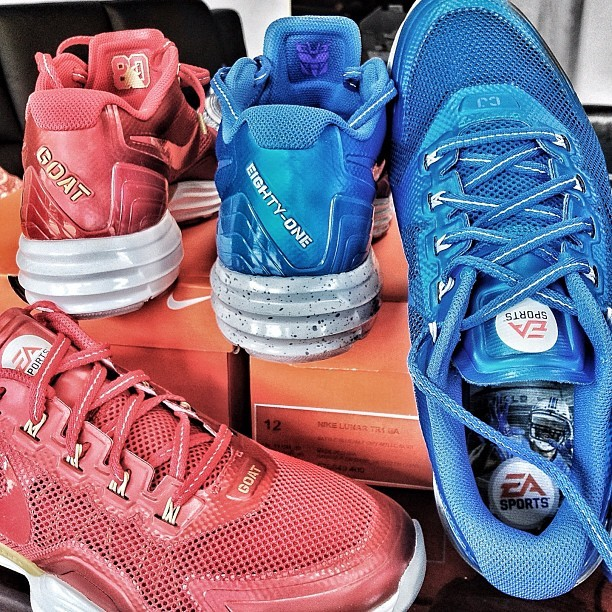 "#Skeelocker: Nike Madden 13 Lunar TR1 EA Jerry Rice ""GOAT"" & Calvin Johnson ""Megatron"" editions. Going to be showcasing & giving away a pair of these on Skee.TV soon (probably your only shot at getting a pair as these are never releasing) #todayskicks #igsneakercommunity #madden #madden13 #exclusive #nicekicks #kicksonfire #jerryrice #calvinjohnson #ea #megatron #nfl (Taken with Instagram at Skee Lodge)"