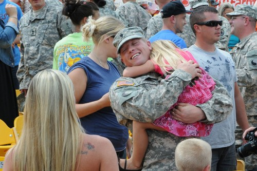 Spc. Daniel Morrison of the 1204th Aviation Support Battalion greets his family during the unit's welcome home ceremony at the Florence Freedom Baseball Stadium in Florence, Ky., Aug. 18, 2012. The Florence, Ky., native, and his fellow soldiers of the 1204th deployed last August to the Persian Gulf region in support of Operation New Dawn.  Photo by Sgt. Scott Raymond