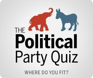 Where do you fit on the political spectrum and how do you compare to others?  Take our 12 question political party quiz, based on our national survey, and we'll tell you where you fit on the political spectrum overall, as well as on economic and social issues.